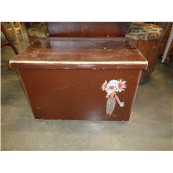 BROWN WOODEN TOY BOX