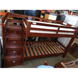 MODERN BUNK BED W/ 4 DRAWERS, STAIRS, AND ONE MATTRESS