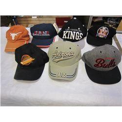 7 BASEBALL CAPS, CHICAGO BULLS, LA KINGS, ARIZONA, TORONTO 50TH NHL ALL STAR AND PIN, TEXAS LONGHORN
