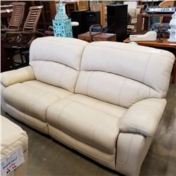 ASHLEY FLOOR MODEL CREAM GENUINE LEATHER POWER RECLINING SOFA, RETAIL $2349