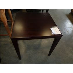 MODERN SQUARE CHERRY FINISH ENDTABLE, RETAI $169