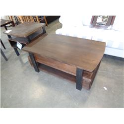 ASHLEY FLOOR MODEL MODERN COFFEE TABLE AND END TABLE W/ POWER