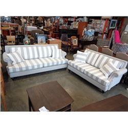 ASHLEY FLOOR MODEL GREY AND WHITE CONTEMPORARY ROLLED ARM SOFA AND LOVESEAT RETAIL $2699