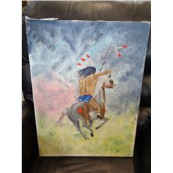 SIGNED OIL ON CANVAS OF A NATIVE WARRIOR