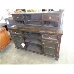 ASHLEY FLOOR MODEL 2 PIECE CONSOLE, DISTRESSED WITH POWER RETAIL $1712