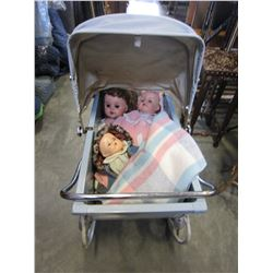 METAL DOLL BABY PRAM W/ 3 DOLLS