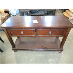 ASHLEY FLOOR MODEL 2 DRAWER CONSOLE MEDIA OR SOFA TABLE, DARK FINISH RETAIL $749