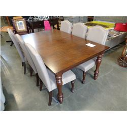 ASHLEY FLOOR MODEL DARK FINISH DINING TABLE WITH 6 UPHOLSTERED CHAIRS RETAIL $2560