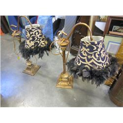 PAIR OF GOOSENECK FEATHERED LAMPS