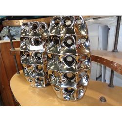 PAIR OF CHROME ABSTRACT VASES