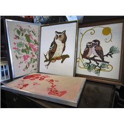 LOT OF 4 KNEEDLE POINT PICTURES, OWLS, AND ABSTRACT