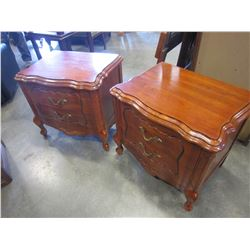 PAIR OF 2 DRAWER FRENCH PROVINCIAL NIGHTSTANDS AND HEADBOARD