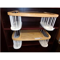 2 WOOD BED TRAYS