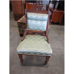 ANTIQUE CARVED UPHOLSTERED CHAIR