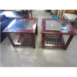 PAIR OF MODERN GLASS TOP END TABLES