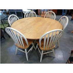 LARGE ROUND DINING TABLE W/ 6 CHAIRS