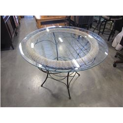 METAL WICKER GLASS TOP PATIO TABLE