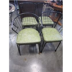 4 MID CENTURY METAL W/ GREEN CUSHION CHAIRS