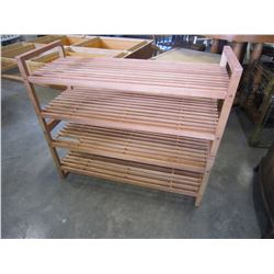 2 WOOD SHOE RACKS