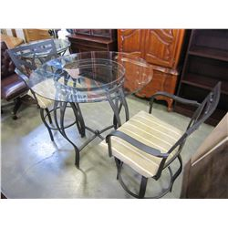METAL GLASS TOP PATIO TABLE AND 2 BAR STOOLS