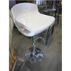 WHITE CHROME GAS LIFT LIFT BAR STOOL