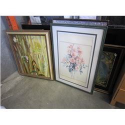 LOT OF 9 PRINTS IN FRAMES AND 1 CERAMIC WALL CARVING