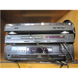 3 SONY AND V INC TURNTABLE, CD TABLE AND DVD, VCD