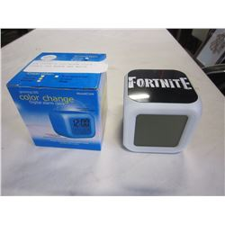 NEW FORTNITE LED ALARM CLOCK , RETAIL $49 BLACK AND WHITE