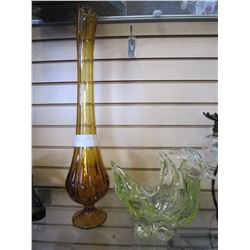 TALL AMBER ART GLASS VASE AND ART GLASS BIRD