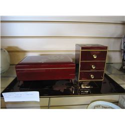 RED VANITY TRAY W/ 2 JEWELERY BOXES - 1 MUSICAL