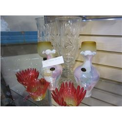2 PINWHEEL HURRICANE LAMPS AND ART GLASS