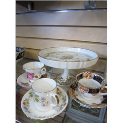 CHINA CAKE PLATTER AND TEA CUPS