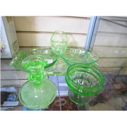 LOT OF GREEN DEPRESSION GLASS SERVING PIECES