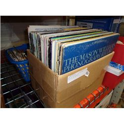 BOX OF RECORDS, AND BOX AND TOTE OF 45 RECORDS