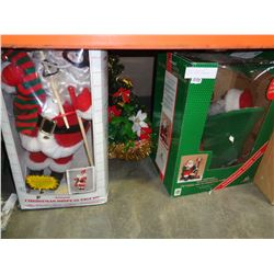 2 ANIMATED SANTAS AND CHRISTMAS BASKET DECORATION