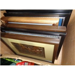 BOX OF SHADOW BOXES AND PRINTS