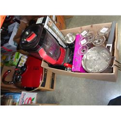 2 BOXES W/ VERSA BLENDERS, GEORGE FOREMAN GRILL, AND BAR ITEMS