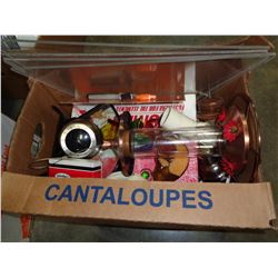 BOX OF ESTATE ITEMS IN CANTELOPE BOX