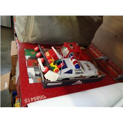 HOLIDAY LIVING TRAIN SET IN BOX AND 3 OTHER VINTAGE CARS