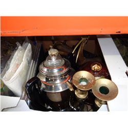BOX OF CRANBERRY GLASSWARE, BRASS CANDLE STANDS, COFFEE URN, SERVING DISH, ETC