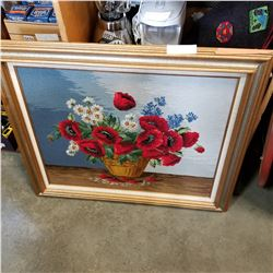 FRAMED FLOWER NEEDLEPOINT