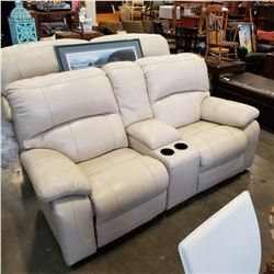 ASHLEY FLOOR MODEL CREAM GENUINE LEATHER POWER RECLINING AND ROCKING LOVESEAT WITH CONSOLE RETAIL $2