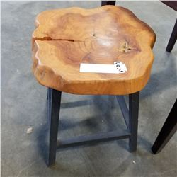 SHORT METAL BASE BURL STOOL