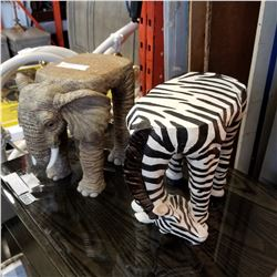 ELEPHANT AND ZEBRA PLANT STANDS