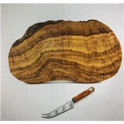 Olive Wood Cheese Board and Knife