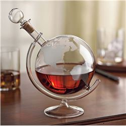 Etched Globe Whiskey Decanter and 2 matching glasses