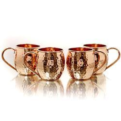 Copper Moscow Mule Set - 4 mugs, straws, and shot mug