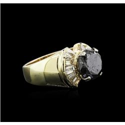4.49 ctw Black Diamond Ring - 14KT Yellow Gold