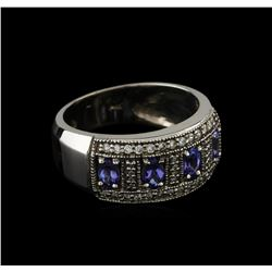 0.68 ctw Tanzanite and Diamond Ring - 14KT White Gold