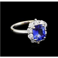 2.60 ctw Blue Sapphire and Diamond Ring - 18KT White Gold